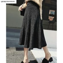 30b3b74de0 Autumn Winter Long Knitted Skirt Women Korean Fashion Silver Lurex Shining High  Waist Pleated Skirts Midi Lenth