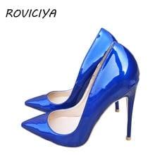 402df7d58b Blue Sexy Women High Heels Shoes Stiletto 12 cm Pumps Blue Pointed Toe  Woman Shoes Party Plus Size 34-45 QP044 ROVICIYA